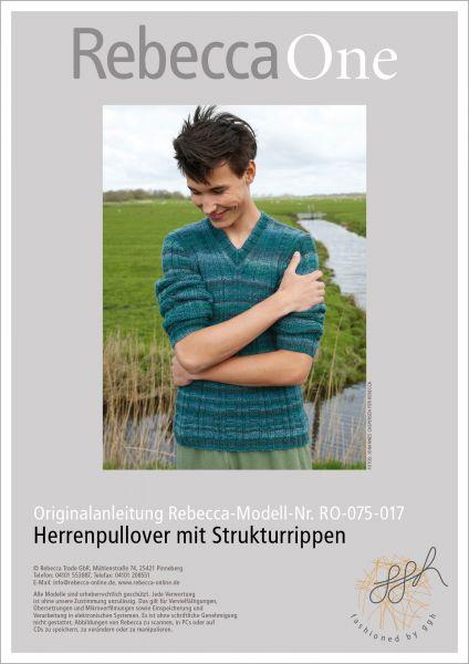 Strickanleitung - Herrenpullover m. Strukturrippen