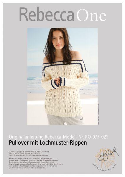 Strickanleitung - Pullover mit Lochmuster-Rippen